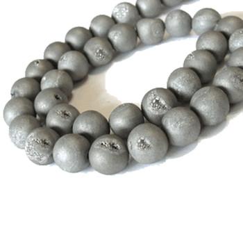 8mm Silver Druzy Agate Gemstone Round Beads 15 Inch Loose Strand B2-A29S