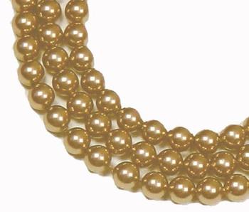 "200 Swarovski Pearls 3mm Round Beads 5810. 24"" Loose Strand Bright Gold 581003Gldbrt"""