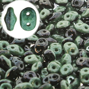 Superduo 2 Color 2 Hole 2.5x5mm Duets Black White Green Luster 22 Grams Du0503849-14459-Tb