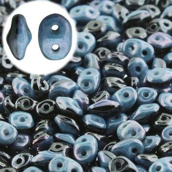 Superduo 2 Color 2 Hole 2.5x5mm Duets Black White Blue Luster 22 Grams Du0503849-14464-Tb