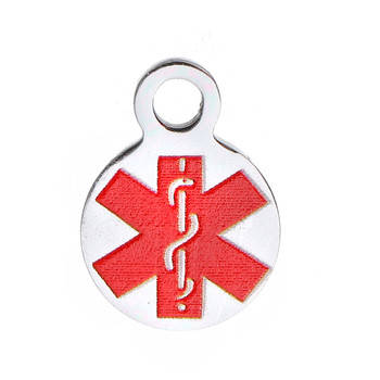 304 Stainless Steel Round Red Medical Alert Id Caduceus 10x13mm 2Pc Rb0084501