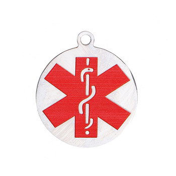 304 Stainless Steel Round Red Medical Alert Id Caduceus 29x25mm 2Pc Rb0084506