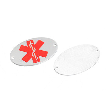304 Stainless Steel Round Red Medical Alert Id Caduceus 32x18mm 2Pc Rb0084505