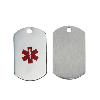 304 Stainless Steel Round Red Medical Alert Id Caduceus 2Pc 36x22mm Rb0081252