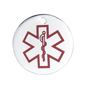 304 Stainless Steel Round Red Medical Alert Id Caduceus 22mm 2Pc Rb0080864