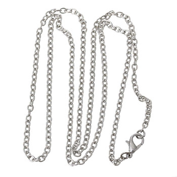 12 Pack Steel Tone Plated 2.5mm Oval Cable Chain Necklace 24 Inch Rb53084
