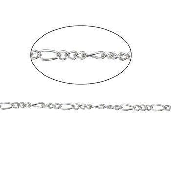 12 Pack Steel Tone Plated 3mm Figaro Chain Necklace 16 Inch Rb75664