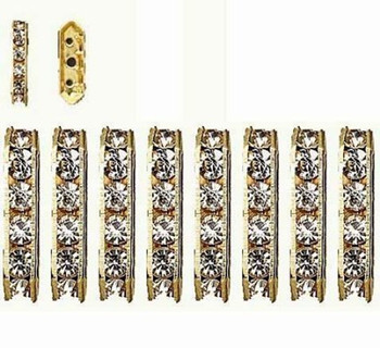 28 Gold-Finished Bead 28 Brass And Rhinestone Clear 16x5mm 3-Strand Bridge Rb10890
