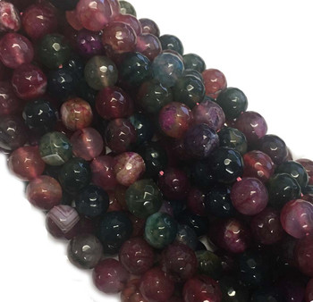 10mm Faceted Tourmaline Agate Gemstone Round Beads 15 Inch Loose B2-C10F19