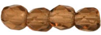 48 FirePolished Faceted Czech Glass Beads 3mm Smoky Topaz 1023
