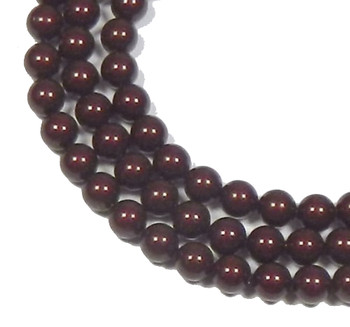 "100 Swarovski Crystal Pearls 4mm Round Beads 5810. 16"" Loose Strand Bordeaux 581004Bord"