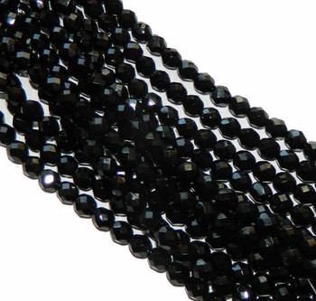 48 FirePolished Faceted Czech Glass Beads 3mm Jet 2398