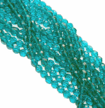 48 FirePolished Faceted Czech Glass Beads 3mm Teal 6015