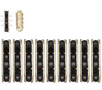 28 Gold-Finished Bead 28 Brass And Rhinestone Black 16x5mm 3-Strand Bridge 3184Mb
