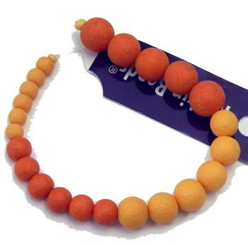 "Glass Mixed Orange 7"" Loose Bead Strand Texture Coat 6-11mm Da-1664"