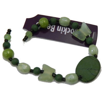 7 Inch Focal Glass Stone Loose Bead Strand Butterfly Oval Green Si-41024
