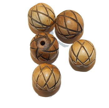 14mm Hand Carved Bone Beads 5 Bead Pack xxx Design Made In India
