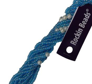 Aqua Ab Irregular Mixed Seed And Bead From India Si-41201-Bb-163