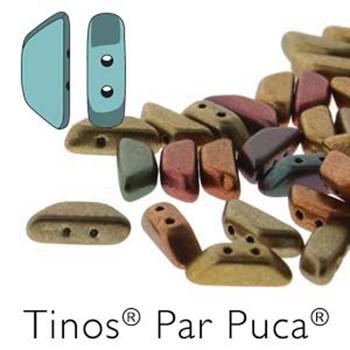 Gold Metallic Iris Tinos Par Puca Trapezoid 2-Hole 30 Czech Glass Beads Hp-Tns410-00030-01620-30Pc