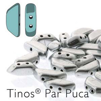 Silver Aluminum Matte Tinos Par Puca Trapezoid 2-Hole 30 Czech Glass Beads Hp-Tns410-00030-01700-30Pc