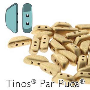 Lt Gold Matte Tinos Par Puca Trapezoid 2-Hole 30 Czech Glass Beads Hp-Tns410-00030-01710-30Pc