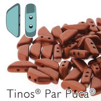 Bronze Red Matte Tinos Par Puca Trapezoid 2-Hole 30 Czech Glass Beads Hp-Tns410-00030-01750-30Pc