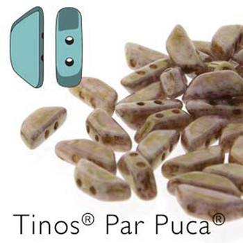 Rose Gold Tinos Par Puca Trapezoid 2-Hole 30 Czech Glass Beads Hp-Tns410-03000-15695-30Pc