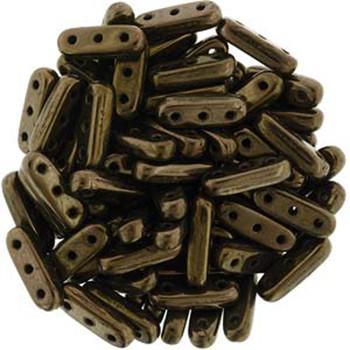 Dk Bronze Czechmates Beam 3x10mm 3 Hole Glass Spacer 30 Bar Beads