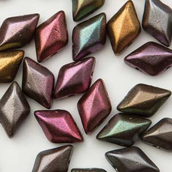 Gemduo 8x5mm Violet Rainbow 2-Hole Diamond Shape Czech Glass Beads 2-Holes Diamond Shape Beads, 30 Beads