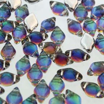 Gemduo 8x5mm Backlit Petroleum 2-Holes Diamond Shape Beads, 30 Beads