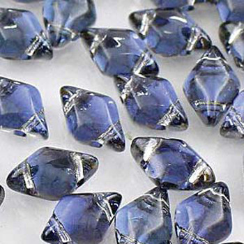 Gemduo 8x5mm Backlit Periwinkle 2-Holes Diamond Shape Beads, 30 Beads