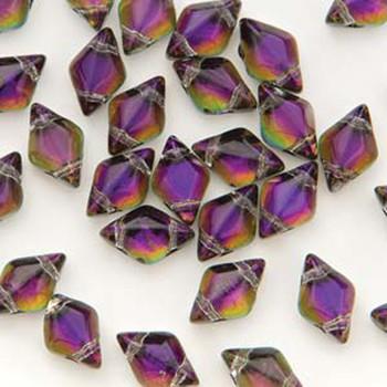 Gemduo 8x5mm Backlit Purple Haze 2-Holes Diamond Shape Beads, 30 Beads