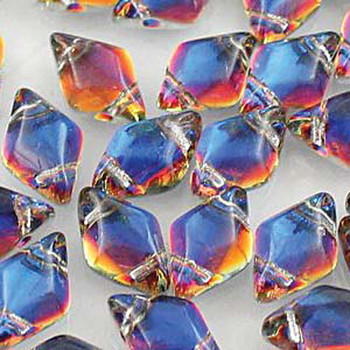 Gemduo 8x5mm Backlit Vapor 2-Holes Diamond Shape Beads, 30 Beads