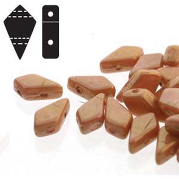 9x5mm 2-Hole Kite Bead Chalk Red Luster Czech Glass Beads