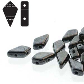9x5mm 2-Hole Kite Bead Jet Gunmetal Czech Glass Beads