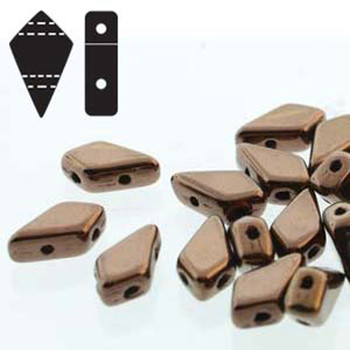 9x5mm 2-Hole Kite Bead Jet Dk Bronze Czech Glass Beads