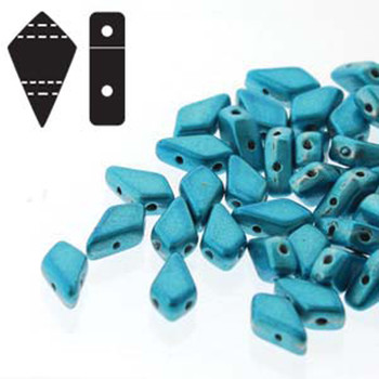 9x5mm 2-Hole Kite Bead Aqua Metalust Czech Glass Beads