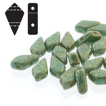 9x5mm 2-Hole Kite Bead Turquoise Green Lumi Czech Glass Beads