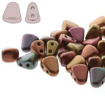 Nib-Bit 6x5mm Violet Rainbow 30 Czech Glass 2 Hole Beads Nb6500030-01640