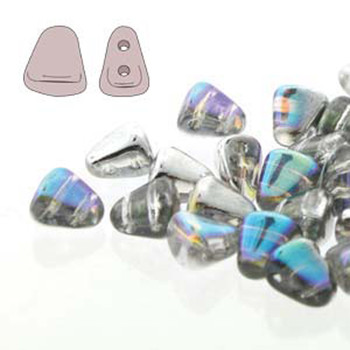 Nib-Bit 6x5mm Crystal Silver Rainbow 30 Czech Glass 2 Hole Beads Nb6500030-98530