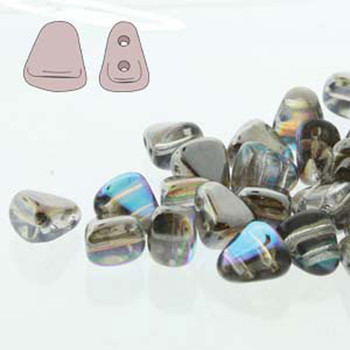 Nib-Bit 6x5mm Crystal Graphite Rainbow 30 Czech Glass 2 Hole Beads Nb6500030-98537