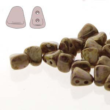 Nib-Bit 6x5mm Chalk Signal Brown 30 Czech Glass 2 Hole Beads Nb6503000-15695