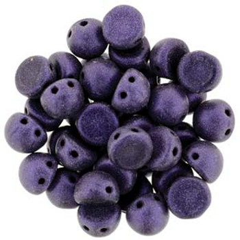 2 Hole Cabochon 7mm Metallic Suede Purple 20 Glass Beads