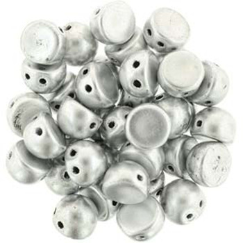 2 Hole Cabochon 7mm Matte Metallic Silver 20 Glass Beads