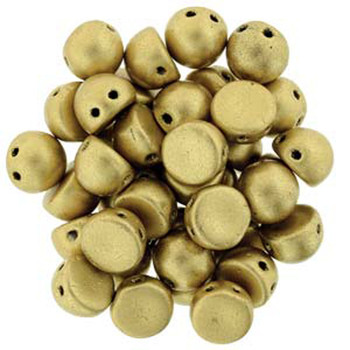 2 Hole Cabochon 7mm Matte Metallic Flax 20 Glass Beads