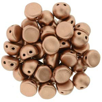 2 Hole Cabochon 7mm Matte Metallic Copper 20 Glass Beads