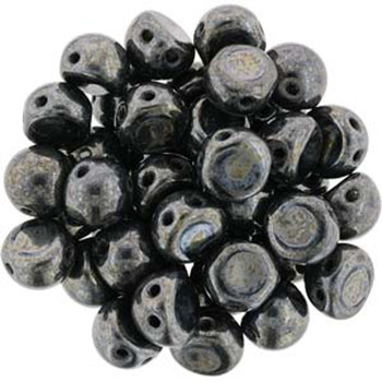 2 Hole Cabochon 7mm Hematite 20 Glass Beads