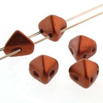2 Hole Super Kheops 6mm Bronze Red Matte 30 Czech Pressed Glass Beads