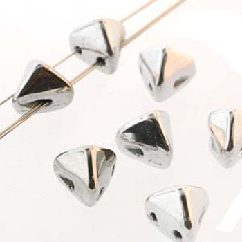 2 Hole Super Kheops 6mm Argentees Silver 30 Czech Pressed Glass Beads