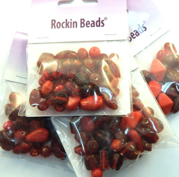 Red Mix Randum Lampwork Beads 35 Gram Package